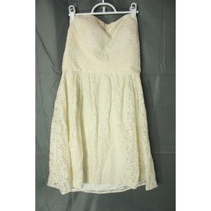 Vince Camuto Strapless Cream Lace Cocktail Dress